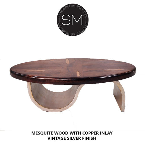 Luxury Mesquite solid Wood Oval Coffee Table-Oval coffee table-Mexports By Susana Molina-Round Corners-Turquoise-Dark Rust Brown-Mexports® Inc by Susana Molina