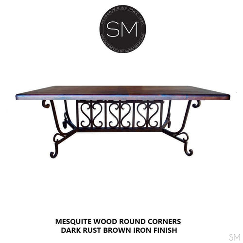Modern Conference Table Desk/Dining de rigueur Rectangular Mesquite Top-Mexports By Susana Molina -Mexports® Inc by Susana Molina