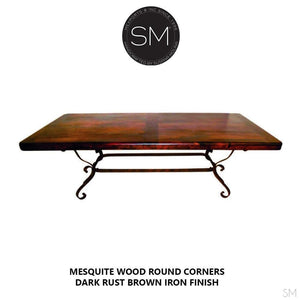 Western Dining Table - Mesquite , Wrought Iron Base-Wooden Rectangular Dining table-Mexports By Susana Molina -6'-Round Corners-Turquoise-Mexports® Inc by Susana Molina
