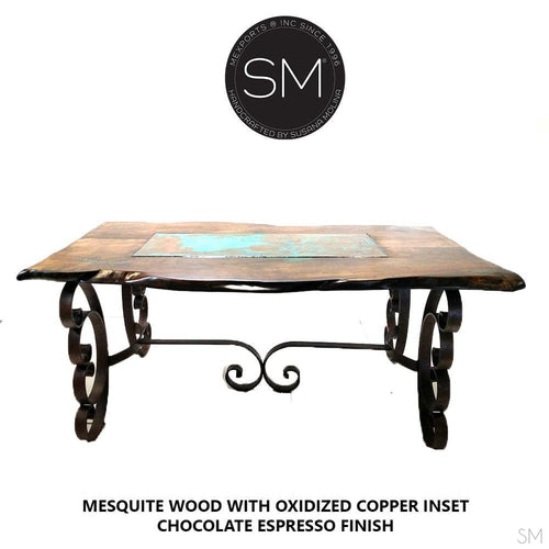 Modern Dining Table | Mesquite w/ Turquoise Inlay, Wrought Iron-Mexports By Susana Molina -Mexports® Inc by Susana Molina