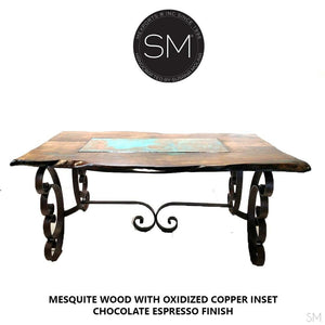 Modern Dining Table | Rectangular | Mesquite w/ Turquoise Inlay, Wrought Iron-Rectangular Dining table-Mexports By Susana Molina -6'-Round Corners-Copper-Mexports® Inc by Susana Molina
