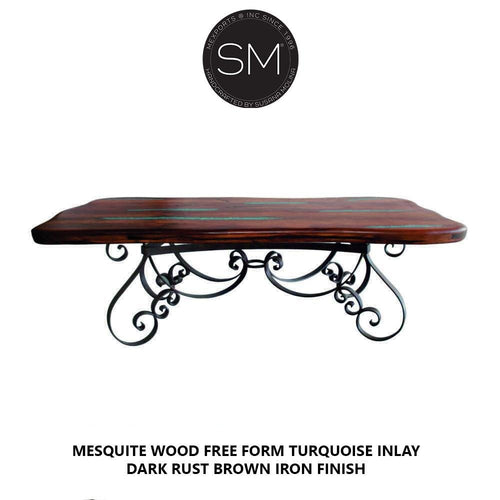 Oblong Dining tables Genuine Mesquite Wood Handcrafted Iron base.-Mexports By Susana Molina-Mexports® Inc by Susana Molina