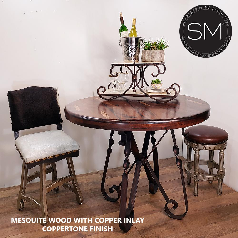 Luxury Ranch Bistro tall table- Mesquite Wood Round Bar Table-Bar Table-Mexports® Inc by Susana Molina -38