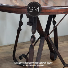 Console Table Close-up of Bullnose Edge Table Top of Mesquite Woood with Copper Inlay Based on Wrought Iron with Coppertone Finish by Mexports Inc