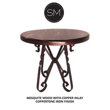 Luxury Ranch Bistro Table Mesquite Wood with Bullnose Edge Copper Inlay Top and Coppertone Finish Wrought Iron Frame Base by Mexports Inc