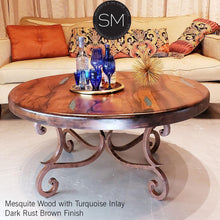 Solid Mesquite Reclaimed Wood Round Coffee Table-Mexports By Susana Molina-Mexports® Inc by Susana Molina