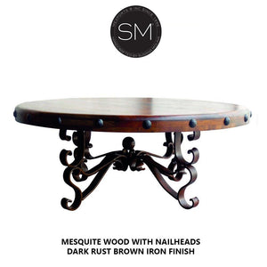Luxury Ranch Mesquite Wood Round Coffee Table Model-Round Coffee tables-Mexports By Susana Molina-Bullnose-Dark Rust Brown-Turquoise-Mexports® Inc by Susana Molina