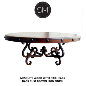 Upscale Rustic Mesquite Wood Round Coffee Table Collection-Round Coffee tables-Mexports By Susana Molina-Bullnose-Dark Rust Brown-Turquoise-Mexports® Inc by Susana Molina