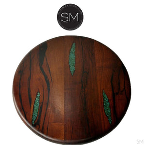 Rustic Coffee Table |Round| Mesquite top, Wrought Iron Base-Mexports By Susana Molina -Mexports® Inc by Susana Molina