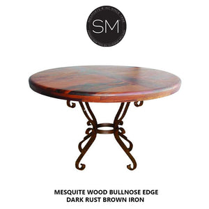 "Mesquite Round Top Dining Table à la mode Handforged Iron Base-Round Dining table-Mexports By Susana Molina-48""Rd Bullnose-Turquoise Inlay-Dark Rust Brown-Mexports® Inc by Susana Molina"