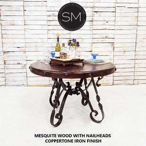 Mesquite Wood Round Dining Table + Iron base-Mexports By Susana Molina-Mexports® Inc by Susana Molina