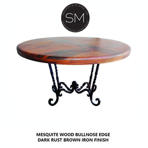 Mesquite Wood Round Dining Table Model 1211 D - Mexports® Inc by Susana Molina