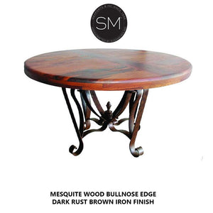 Mesquite Wood Round Dining Table Model 1229 D - Mexports® Inc by Susana Molina