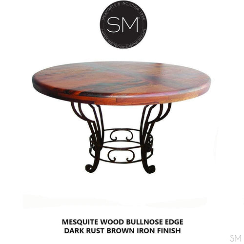 Mesquite Wood Round Dining Table Model 1231 D - Mexports® Inc by Susana Molina