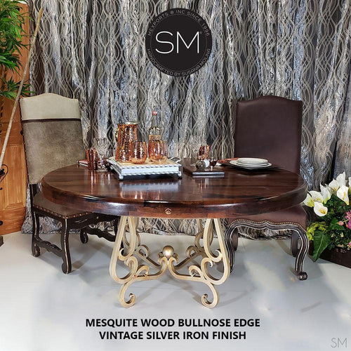 Chic Western Dinning Table Ritzy Round Mesquite Top Vintage Silver Legs-Round Dining table-Mexports By Susana Molina -48