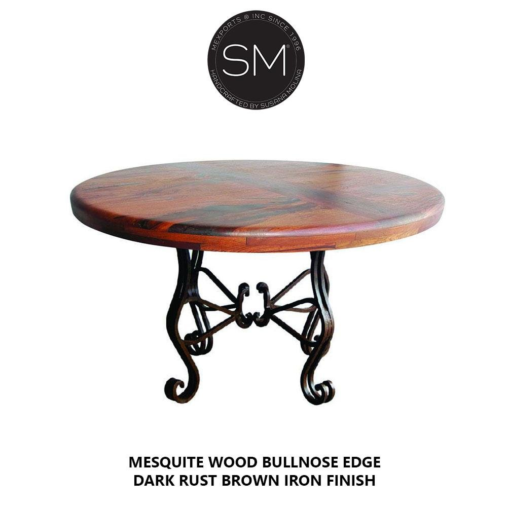 Luxury Dining Table Voguish Mesquite Round Dark Rust Brown Iron Finish-Round Dining table-Mexports By Susana Molina-48