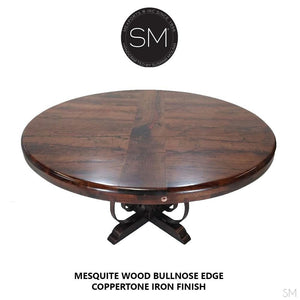 "Luxurious Mesquite Wood Dining Table | Round | Wrought Iron Base-Mesquite Dining room table-Mexports By Susana Molina -48""-With Inlay-Bullnose Edge-Mexports® Inc by Susana Molina"