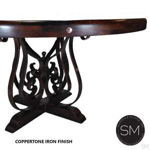 Luxurious Mesquite Wood Dining Table Wrought Iron Base-Mexports By Susana Molina -Mexports® Inc by Susana Molina