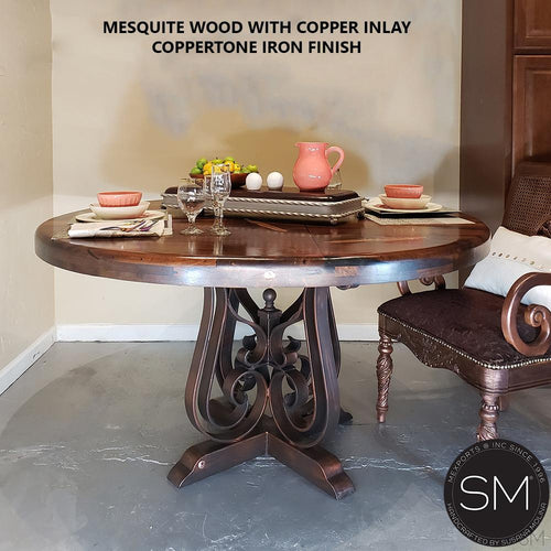 Luxurious Mesquite Wood Dining Table | Round | Wrought Iron Base-Mesquite Dining room table-Mexports By Susana Molina -48