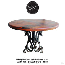 "Modern Mesquite Dining table w/ Wrought Iron Base | Round-Round Dining table-Mexports By Susana Molina -48""Rd Bullnose-Turquoise Inlay-Dark Rust Brown-Mexports® Inc by Susana Molina"