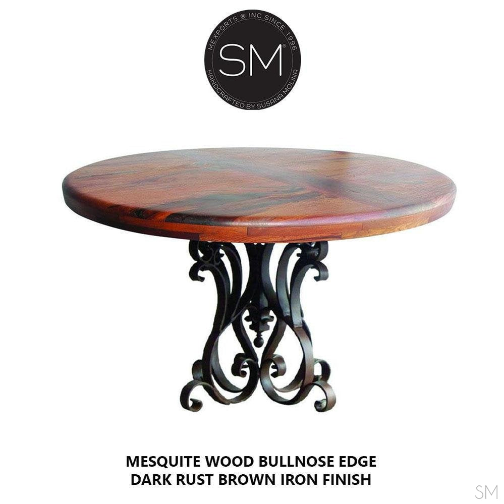Modern Mesquite Dining table w/ Wrought Iron Base | Round-Round Dining table-Mexports By Susana Molina -48