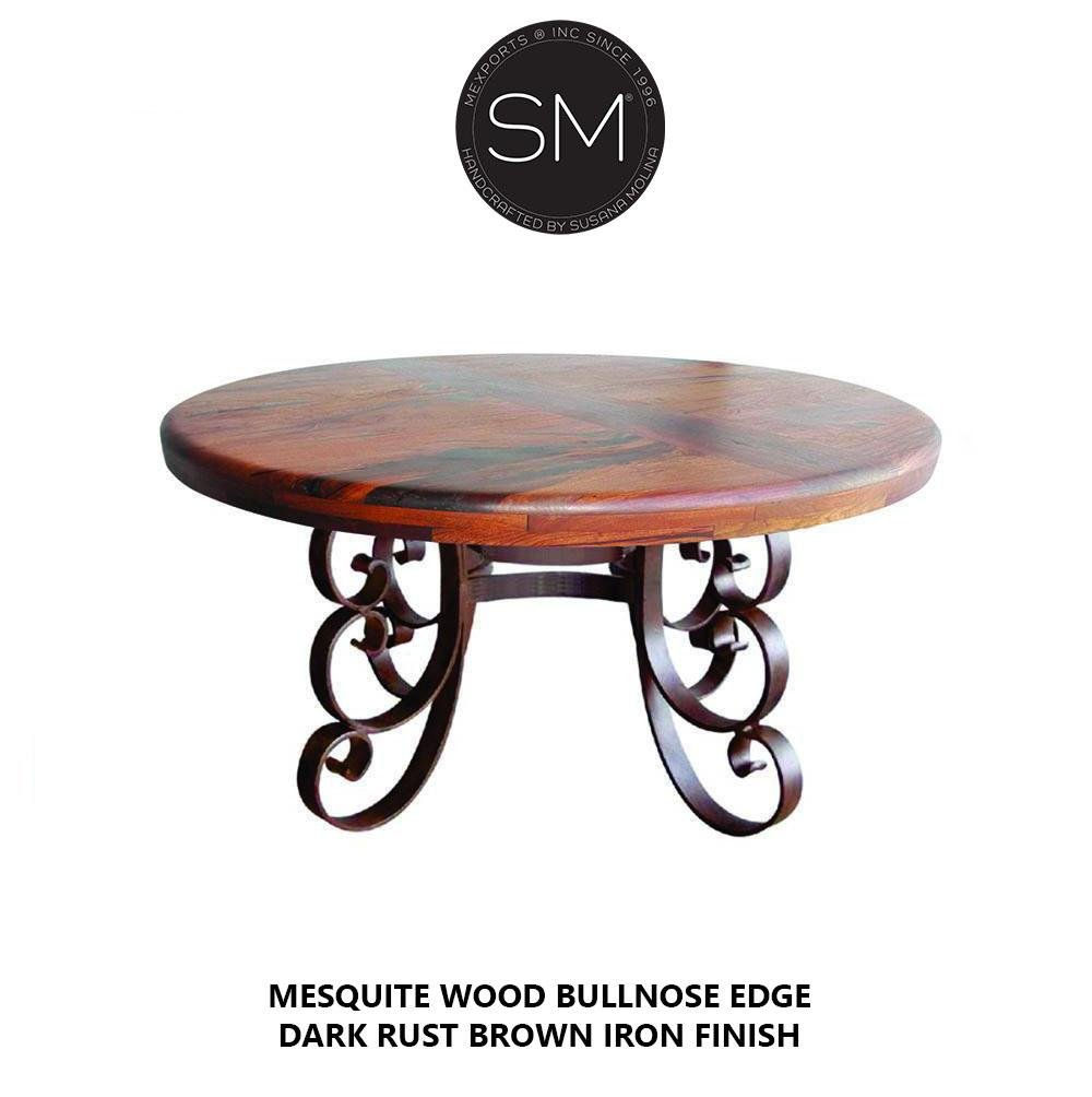 Luxury Rustic Round Dining Room - Mesquite wood Top, Hand Forged Iron Base-Round Dining table-Mexports By Susana Molina-48