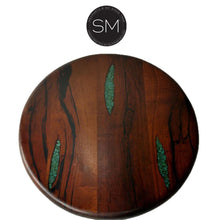 "Luxury Rustic Round Dining Room - Mesquite wood Top, Hand Forged Iron Base-Round Dining table-Mexports By Susana Molina-48""Rd Bullnose-Turquoise Inlay-Dark Rust Brown-Mexports® Inc by Susana Molina"