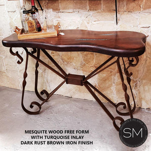 Live Edge Mesquite wood Entryway table -Rustic Elegant Metal Console-Mexports By Susana Molina -Mexports® Inc by Susana Molina