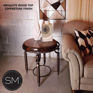 Luxurious Mesquite Wood w/ Wrought Iron Base | Small Ocassional Table-Mexports By Susana Molina-Bullnose-Turquoise-Dark Rust Brown-Mexports® Inc by Susana Molina