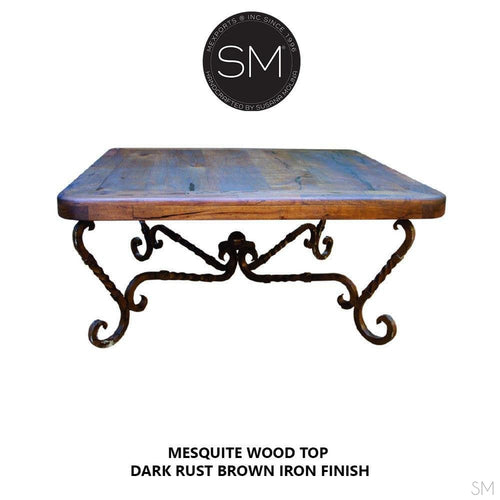 Western Chic Coffee Table Quintessence Scroll Square Mesquite Wood Top-square coffee table-Mexports By Susana Molina -Round Corners-Turquoise-Dark Rust Brown-Mexports® Inc by Susana Molina