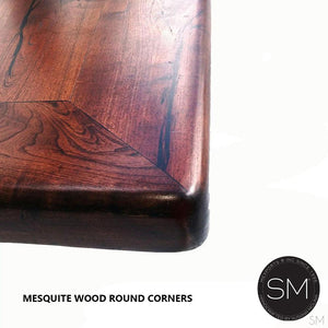 Modern Kiln Dried Mesquite Coffee Table | Square-Cocktail tables-Mexports By Susana Molina -Round Corners-Turquoise-Dark Rust Brown-Mexports® Inc by Susana Molina
