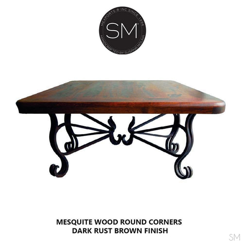 Modern Rustic Kiln Dried Mesquite | Square Coffee Table-Cocktail tables square-Mexports By Susana Molina -Live Edge-Dark Rust Brown-Turquoise-Mexports® Inc by Susana Molina