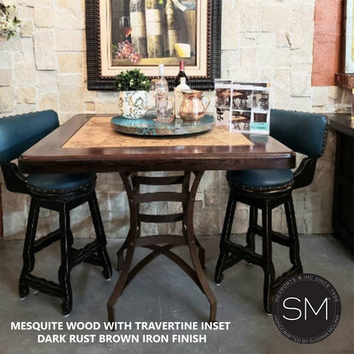Mesquite Wood with Travertine Inset Square Bar Table Model 1243 E - Mexports® Inc by Susana Molina