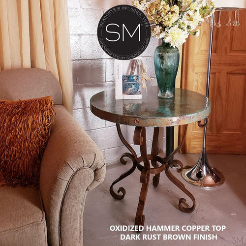Mexican Furniture- Handmade Hammer Copper Side Occasional Table - Entry Table Iron 38