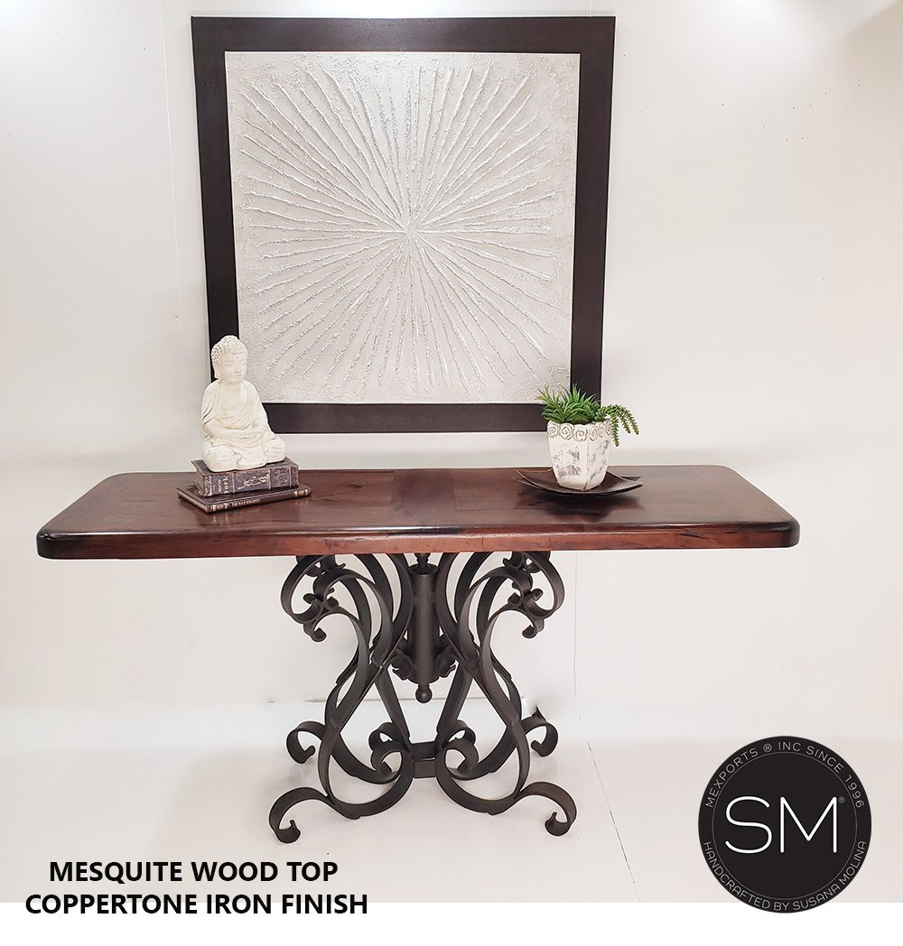 Mexican Modern Large Console with Mesquite Wood Single Pedestal-Console tables - Entryway tables-Mexports By Susana Molina-Turquoise-Dark Rust Brown-Mexports® Inc by Susana Molina