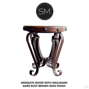 Mexican Rustic Furniture - Mesquite Table -Foyer End Table with Mesquite Top and wrought iron legs - Mexports® Inc by Susana Molina