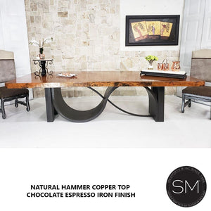 Modern Dining Table With Contemporary Hammer Copper Top-Mexports By Susana Molina-Mexports® Inc by Susana Molina