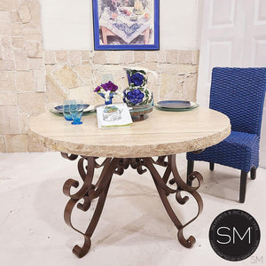 "Modern Chic Round Dining Table | Travertine | Wrought Iron-Round Dining table-Mexports By Susana Molina -48""-Peach Chiseled-Chocolate espresso-Mexports® Inc by Susana Molina"
