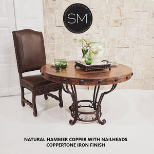 "Modern Dining Table | Round | Copper Top w/ Wrought Iron Base-Round Dining table-Mexports By Susana Molina-48""-Natural Copper-Rust Dark Brown-Mexports® Inc by Susana Molina"