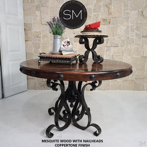 Modern Mesquite Dining table w/ Wrought Iron Base-Mexports By Susana Molina -Mexports® Inc by Susana Molina