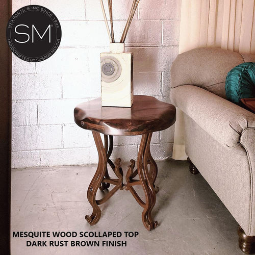 Modern Rustic Furniture- Mesquite Side Table with wrought iron legs; Iron End table, entry table, foyer table, end table - Mexports® Inc by Susana Molina