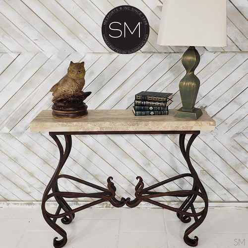 Narrow High end Console Table made natural Travertine Stone top-Mexports By Susana Molina -Mexports® Inc by Susana Molina