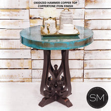Occasional Table- Hammered Copper w/ Wrought Iron Base-Mexports By Susana Molina-Mexports® Inc by Susana Molina