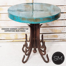 Occasional Table- Hammered Copper w/ Wrought Iron Base - Mexports® Inc by Susana Molina