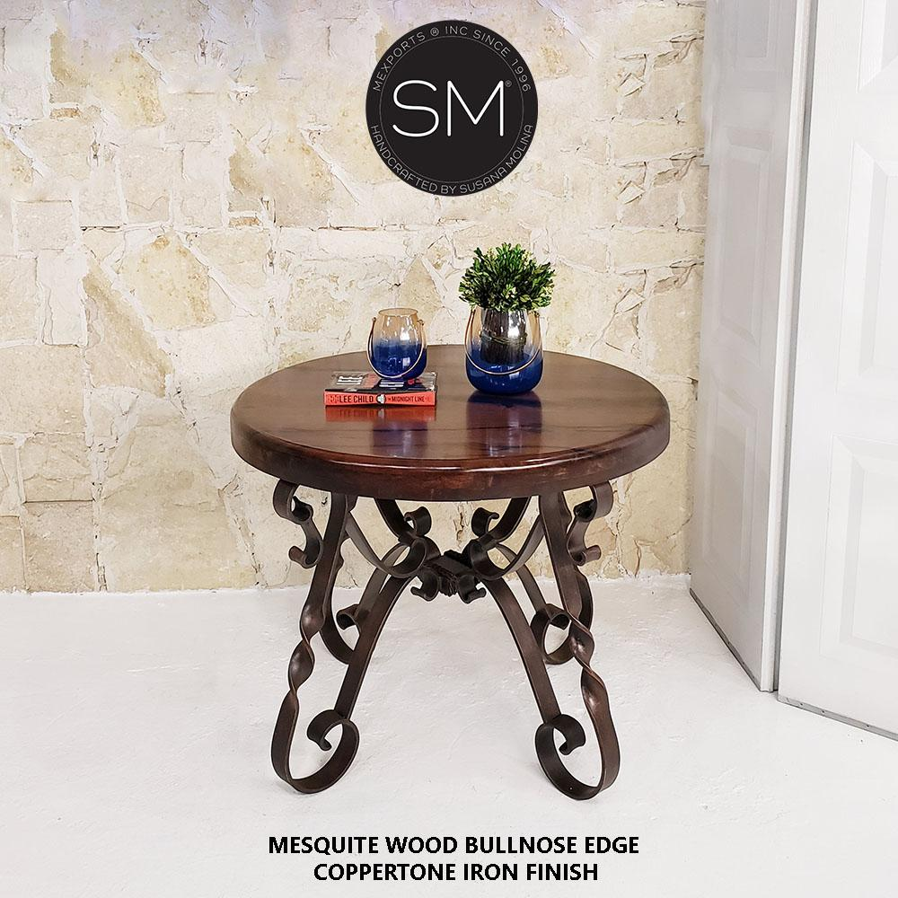 Occasional Table | Large | Mesquite Wood, Wrought Iron Base-Mexports By Susana Molina-Mexports® Inc by Susana Molina