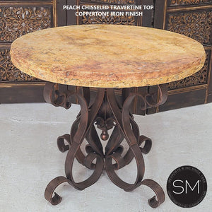 Chic Western Large Occasional Table Primo Travertine Top w/ Robust Legs-Mexports By Susana Molina-Mexports® Inc by Susana Molina