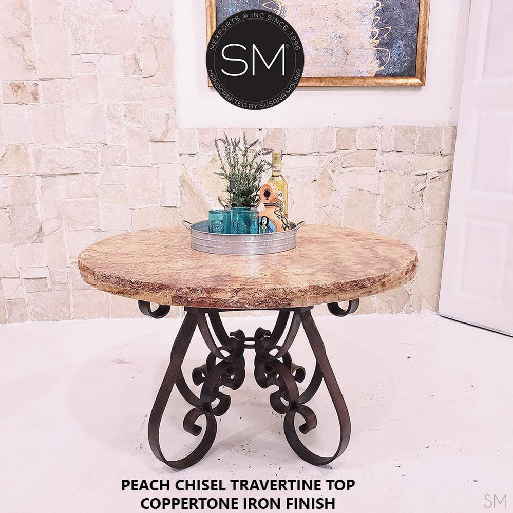 Old World Dining Table | Outdoors Travertine furniture | Wrought Iron-Round Dining table-Mexports By Susana Molina -48