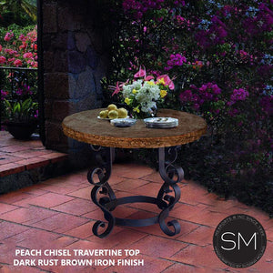 "OUTDOOR PATIO Wrought Iron Table With Travertine Top , Occasional Table, Side Table 38""Rd - Mexports® Inc by Susana Molina"