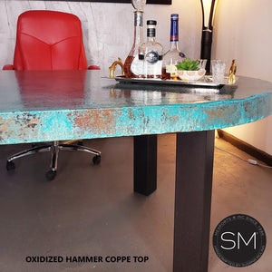 Mid-Century Modern Oval Oxidized Hammer Copper 3-Leg Contemporary Desk-Mexports By Susana Molina-Natural Hammer Copper-6'-Dark Rust Brown-Mexports® Inc by Susana Molina