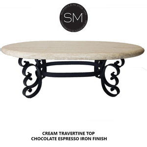 Oval Rustic Coffee Tables Cream Travertine Top-Mexports By Susana Molina-Mexports® Inc by Susana Molina